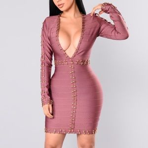 Fashion nova purple bandage dress